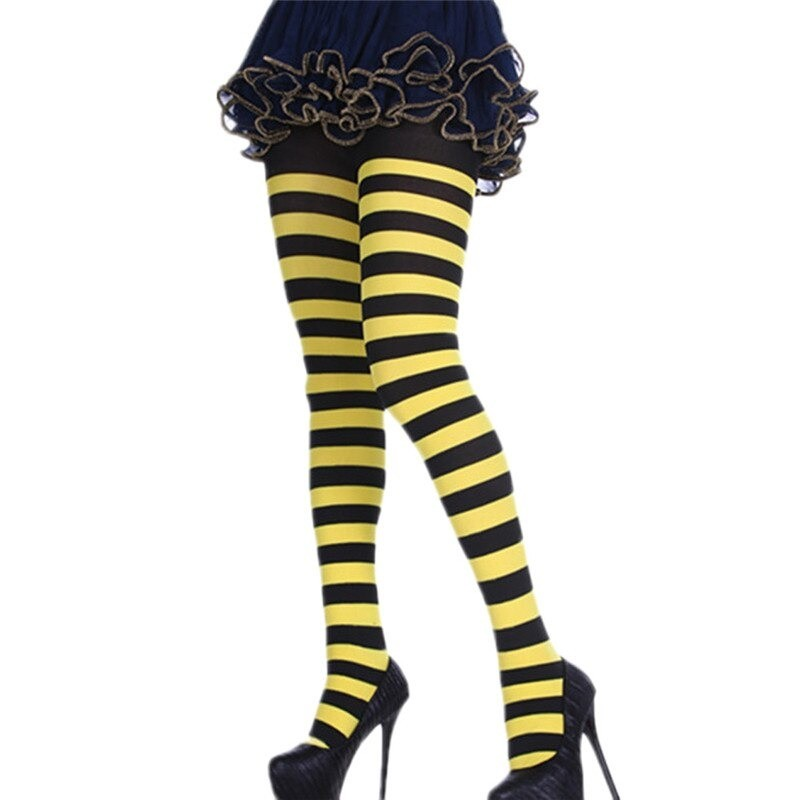 Bas collant abeille à rayures noir et jaune pour femme