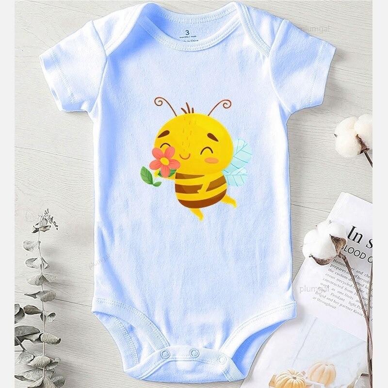 Body abeille hiver en coton pour enfant bleu manches courtes