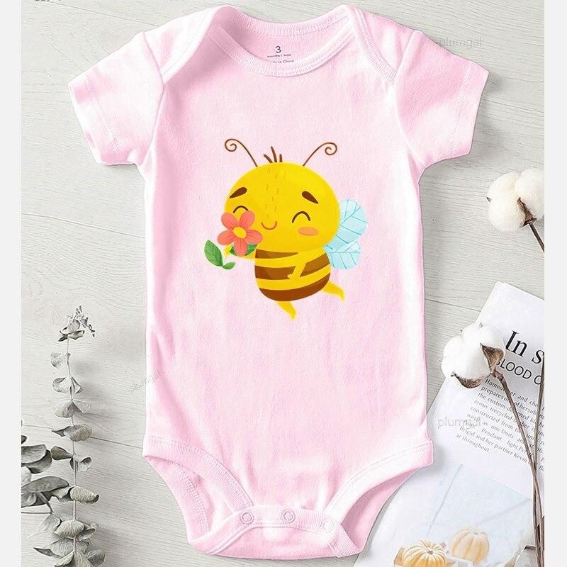 Body abeille hiver en coton pour enfant rosemanches courtes