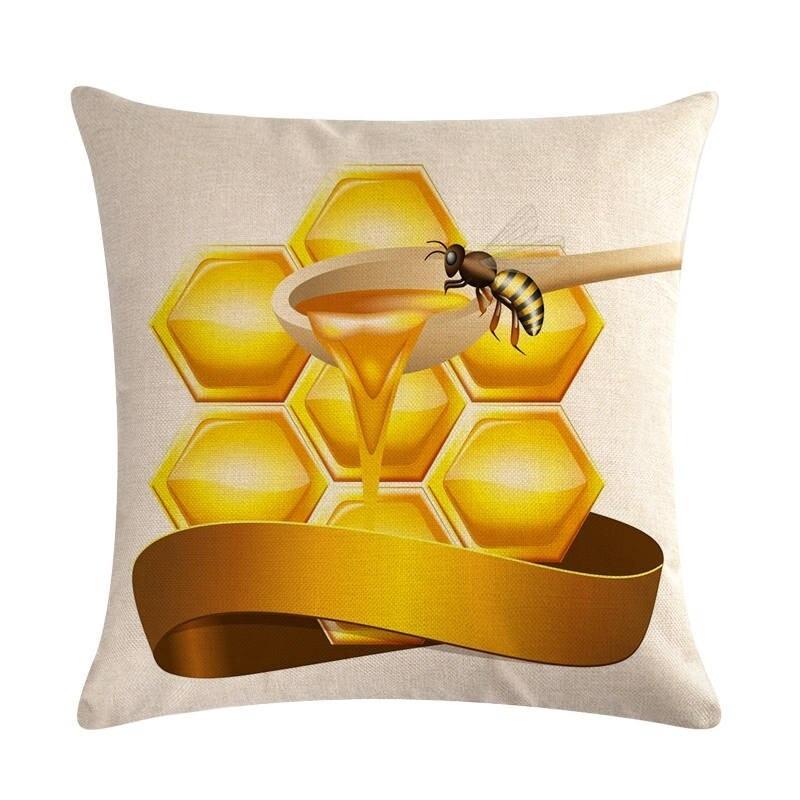Housse de coussin carré avec motifs abeille - modele 1