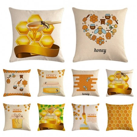 Housse de coussin carré avec motifs abeille