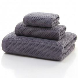 Ensemble de serviettes fines en coton nid d'abeille - Lot de 3 pièces - gris