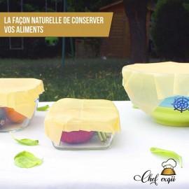 3 Emballages Alimentaires en Cire d'Abeille Française Bio Réutilisables
