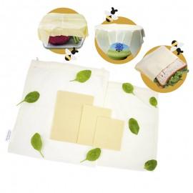 Emballages Alimentaires en Cire d'Abeille Française Bio Réutilisables + 2 Sacs en Tissu Coton Bio