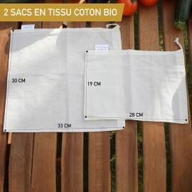 2 Sacs en Tissu Coton Bio pour Fruits Légumes