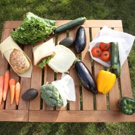 Emballages Alimentaires en Cire d'Abeille Bio Réutilisables et 2 Sacs en Tissu Coton Bio
