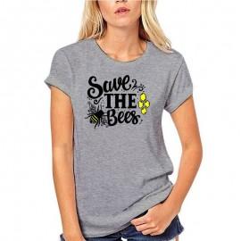 T-shirt femme retro save the bees, sauvez les abeilles - gris