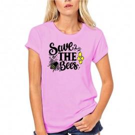 T-shirt femme retro save the bees, sauvez les abeilles - rose