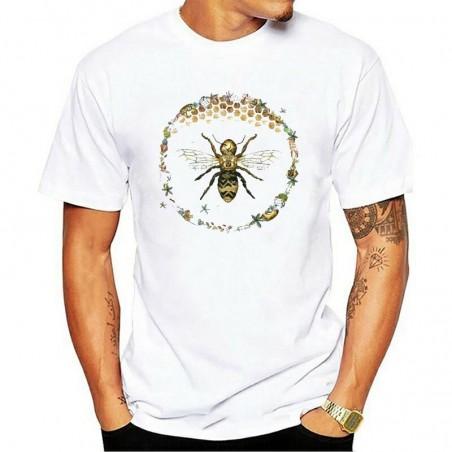 T-shirt Homme Abeille cercle nid d'abeille - blanc
