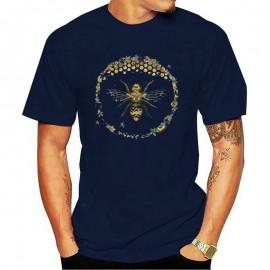T-shirt Homme Abeille cercle nid d'abeille - bleu