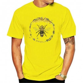 T-shirt Homme Abeille cercle nid d'abeille - jaune