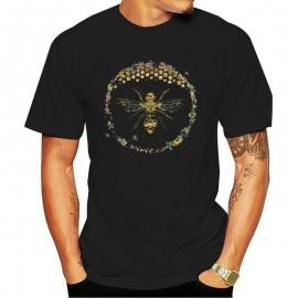 T-shirt Homme Abeille cercle nid d'abeille - noir