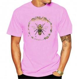 T-shirt Homme Abeille cercle nid d'abeille - rose