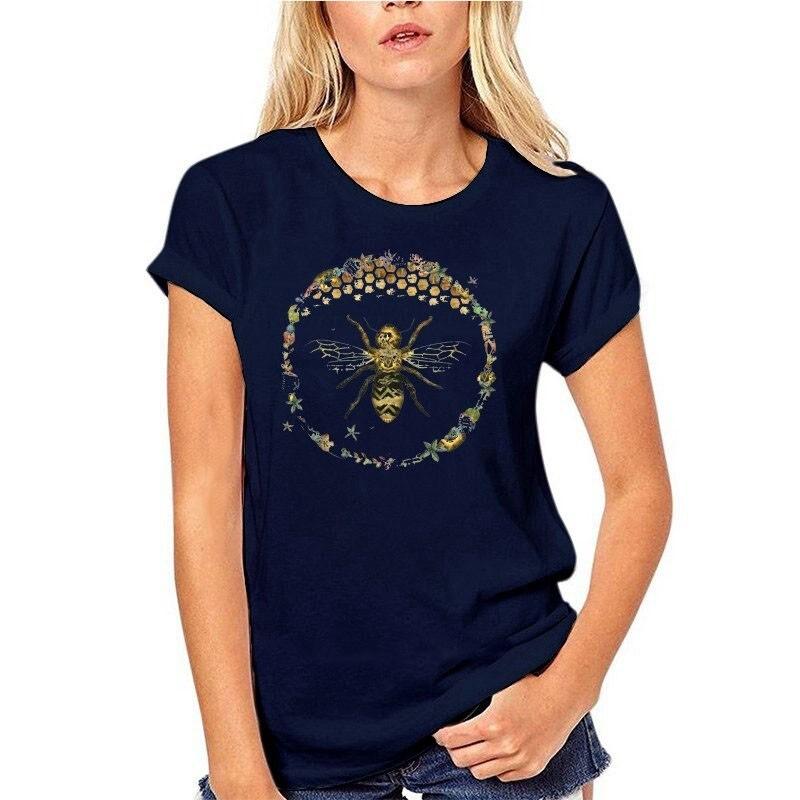 T-shirt Femme Abeille cercle nid d'abeille - bleu