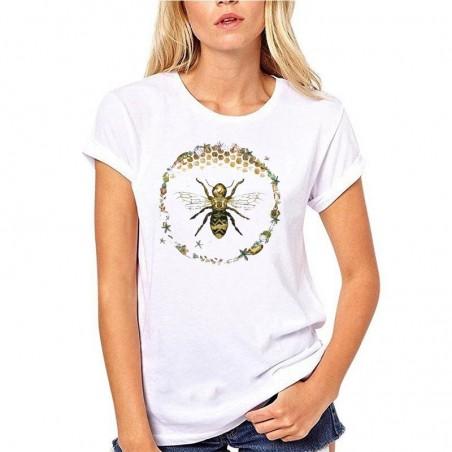 T-shirt Femme Abeille cercle nid d'abeille - blanc