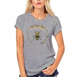 T-shirt Femme Abeille cercle nid d'abeille - gris