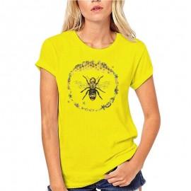 T-shirt Femme Abeille cercle nid d'abeille - jaune
