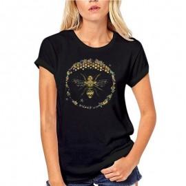 T-shirt Femme Abeille cercle nid d'abeille - noir