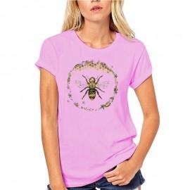 T-shirt Femme Abeille cercle nid d'abeille - rose