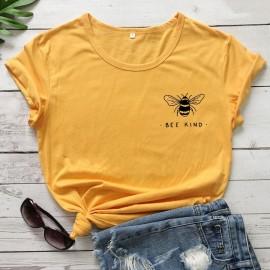 T-shirt Bee Kind pour femme jaune