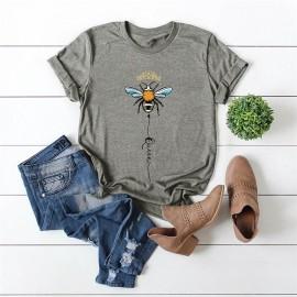 T-shirt femme Queen Bee à motif abeille gris