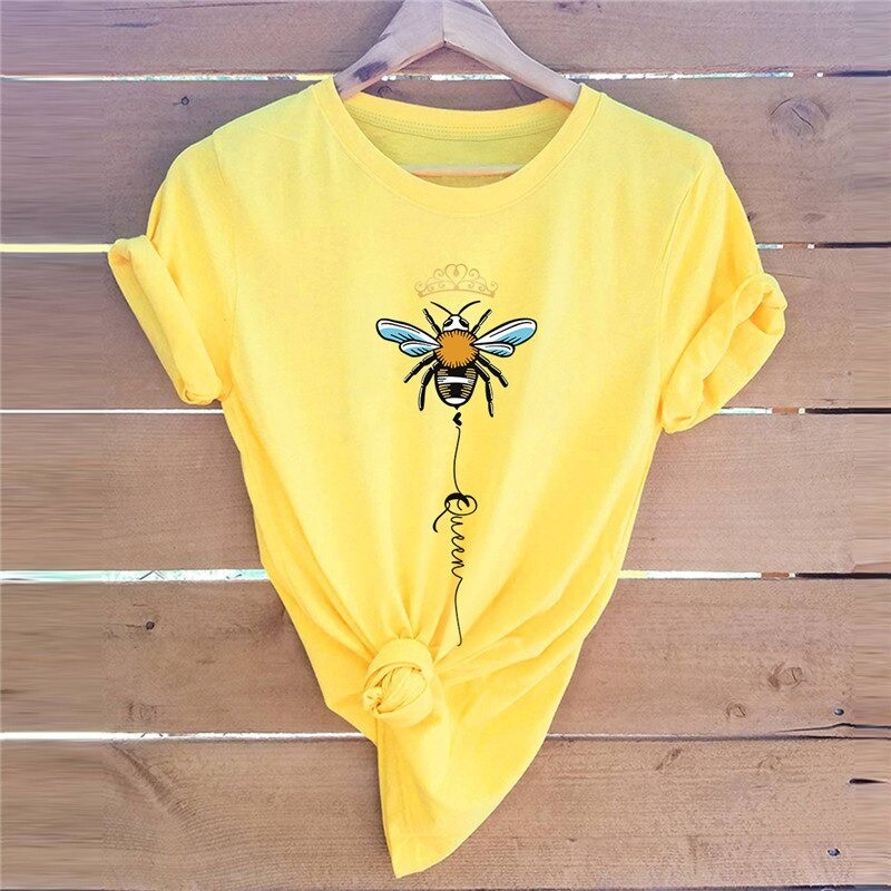 T-shirt femme Queen Bee à motif abeille jaune