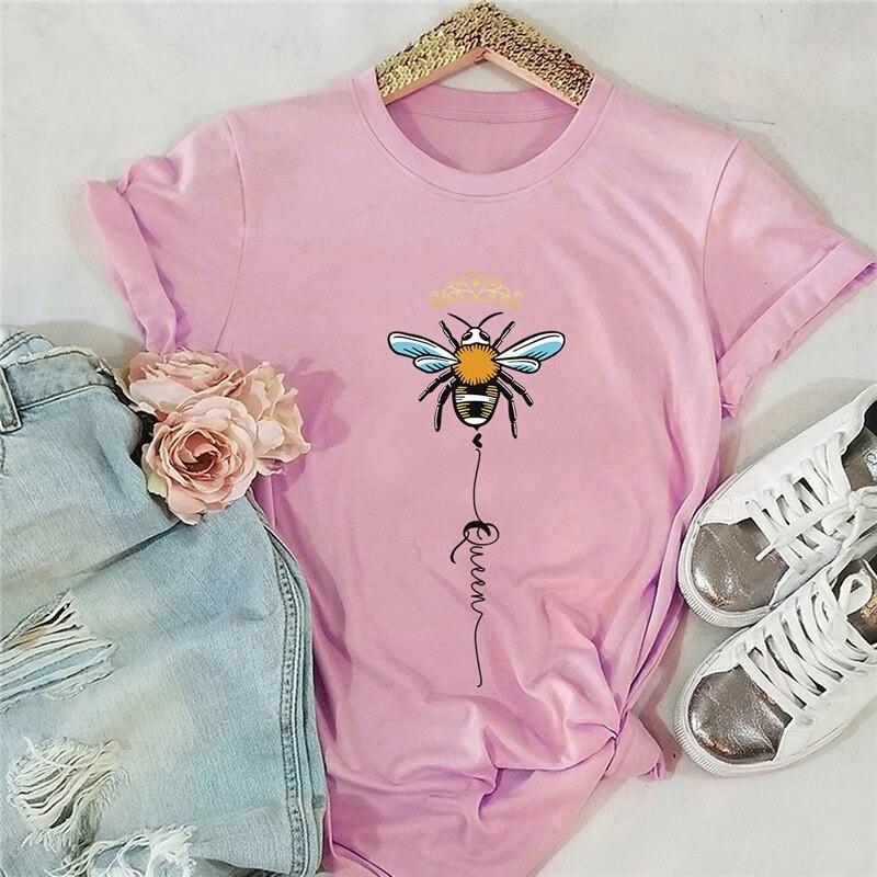 T-shirt femme Queen Bee à motif abeille rose