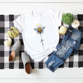T-shirt femme Queen Bee à motif abeille blanc