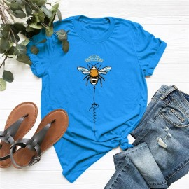 T-shirt femme Queen Bee à motif abeille bleu
