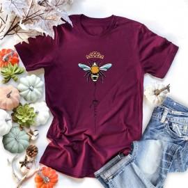 T-shirt femme Queen Bee à motif abeille couleur bordeaux burgundy