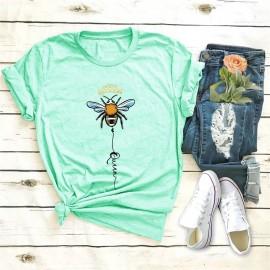T-shirt femme Queen Bee à motif abeille vert menthe