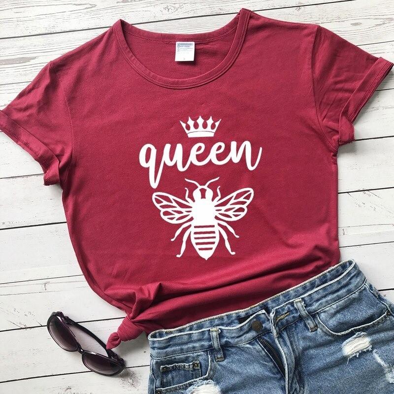 Tshirt Femme à Manches Courtes Queen Been Reine abeille burgundy