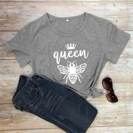 Tshirt Femme à Manches Courtes Queen Been Reine abeille gris foncé