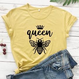 Tshirt Femme à Manches Courtes Queen Been Reine abeille jaune