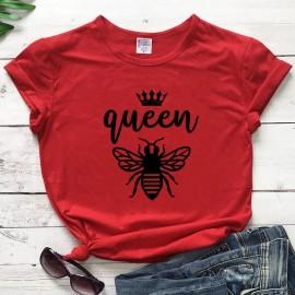 Tshirt Femme à Manches Courtes Queen Been Reine abeille rouge
