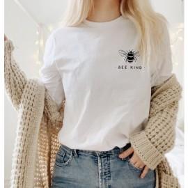 Sweatshirt Abeille Femme col rond à motif abeille Bee Kind blanc