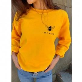 Sweatshirt Abeille Femme col rond à motif abeille Bee Kind jaune