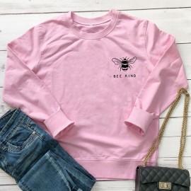 Sweatshirt Abeille Femme col rond à motif abeille Bee Kind rose