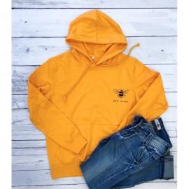 Sweat-shirt Femme à manches longue, capuche et poche ventrale Bee Kind jaune doré