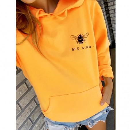 Sweat-shirt Femme à manches longue, capuche et poche ventrale Bee Kind jaune