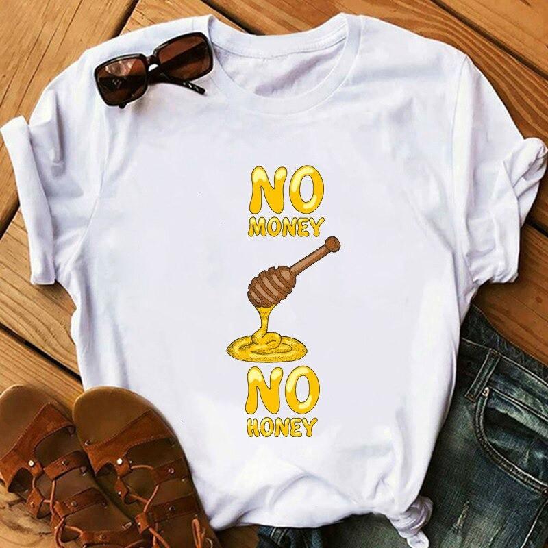 T-shirt humoristique pour femmes - illustration No Honey No Money