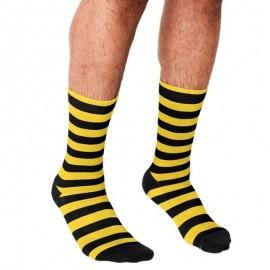 Chaussettes pour hommes motif d'abeille jaune et noir imprimé
