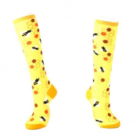 Chaussette longues genou pour femme motif abeille - Taille unique