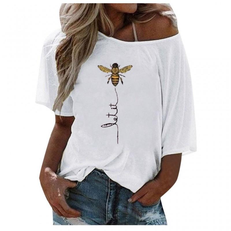 T-Shirt Let it Bee Abeille asymétrique épaule dénudée pour femme blanc
