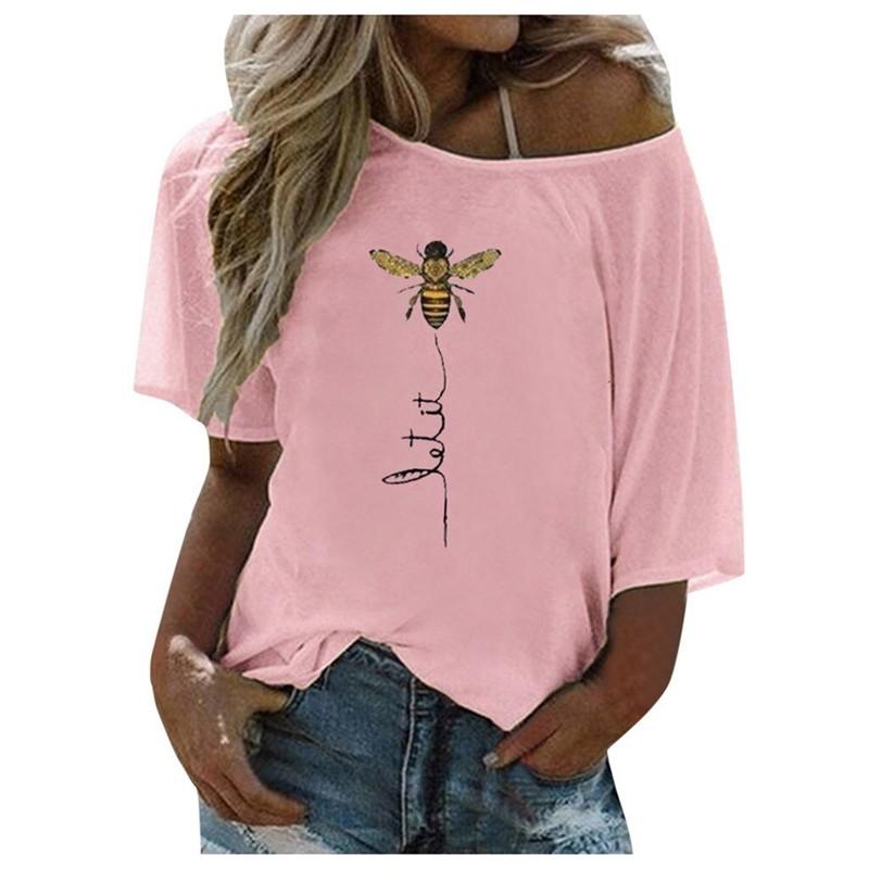 T-Shirt Let it Bee Abeille asymétrique épaule dénudée pour femme rose
