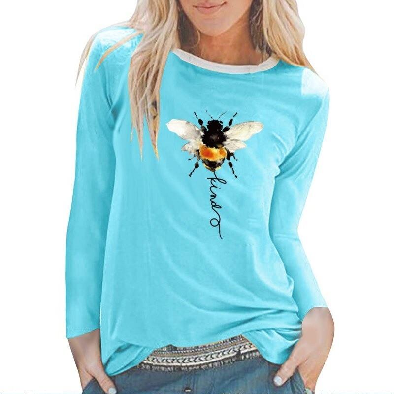 T-shirt manches longues pour femme Bee Kind bleu turquoise