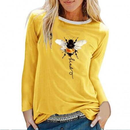 T-shirt manches longues pour femme Bee Kind jaune