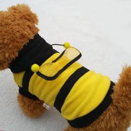 Manteau à capuche abeille pour chien vue dessus gauche
