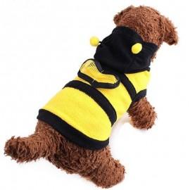 Manteau à capuche abeille pour chien vue dessus droite