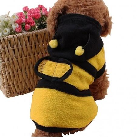 Manteau à capuche abeille pour chien vue arriere